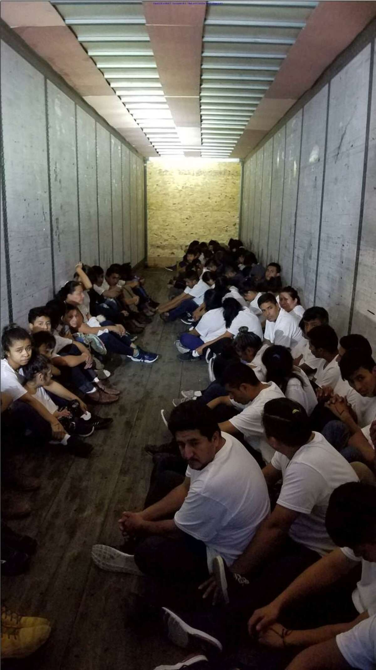 U.S. Border Patrol agents said this is a group of 69 adults and 14 juveniles who were riding in the back of a trailer. All had crossed the border illegally. On Thursday, the truck was convicted of human smuggling.