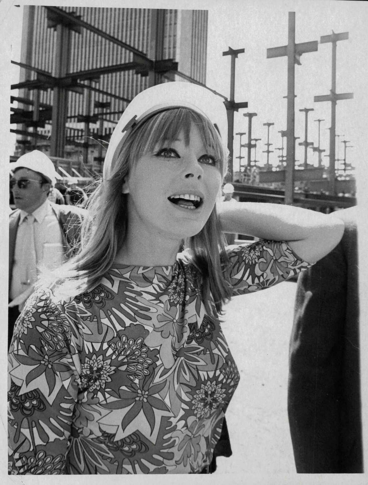 Elke Sommer, actor, touring the South Mall as it is under construction. August 1970 (Times Union Archive)