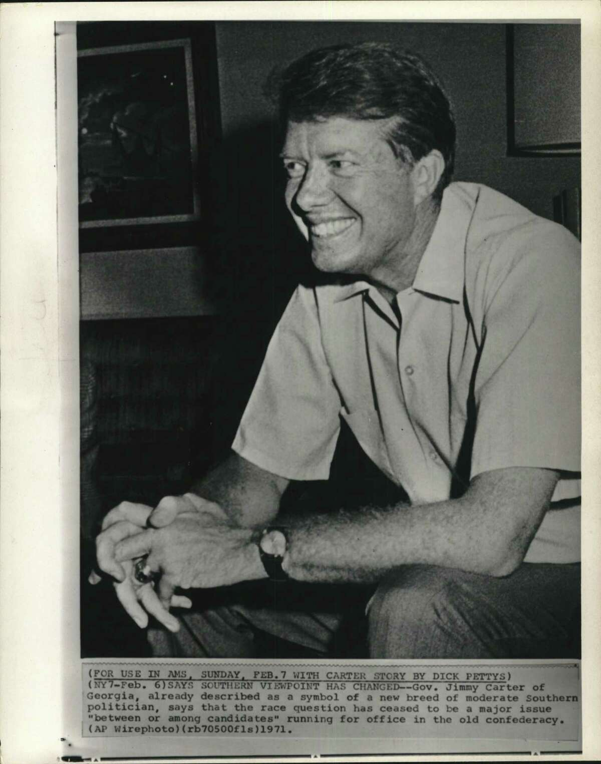 Carter, Jimmy (Governor) (Georgia). Governor Jimmy Carter of Georgia, already described as a symbol of a new breed of moderate Southern politician, says that the race question has ceased to be a major issue