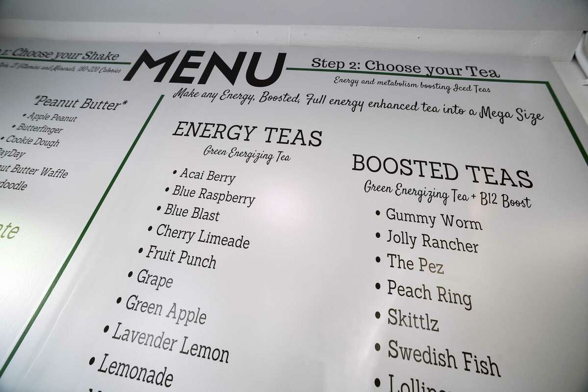A menu printed on the wall of Small Town Nutrition on Orange Center Road in Orange on August 14, 2020.