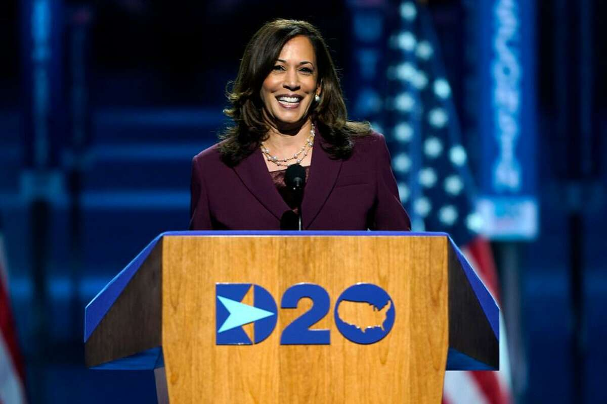 Democratic vice presidential candidate Sen. Kamala Harris, D-Calif., speaks in Wilmington, Del., during the third day of the Democratic National Convention.