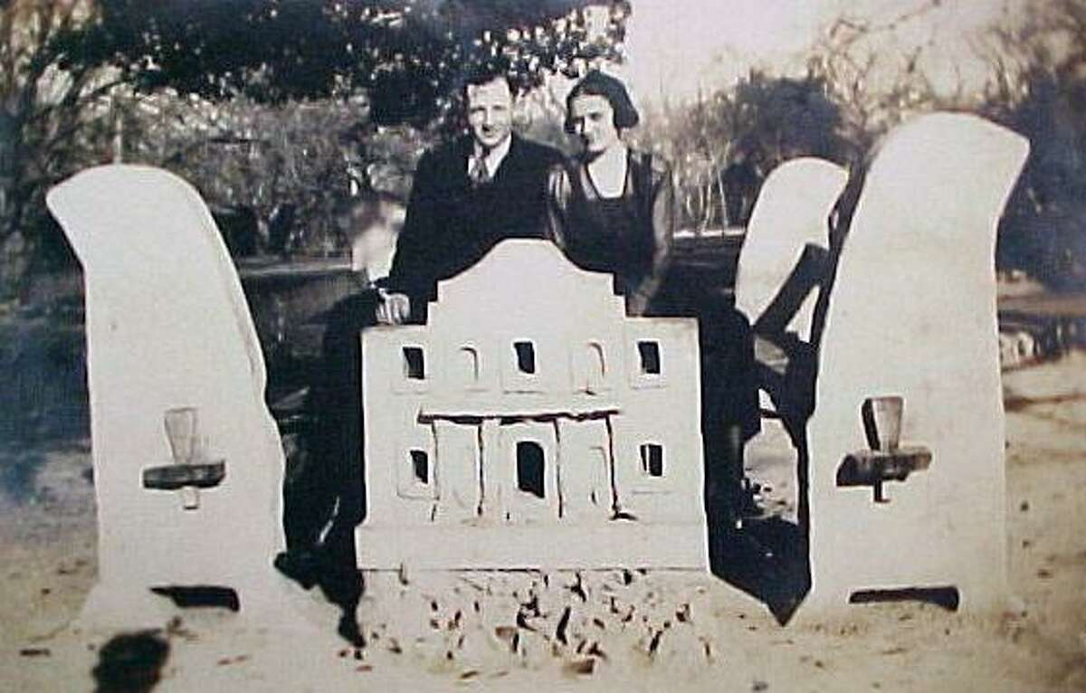 This photo showing an unidentified couple at a concrete picnic table with a unique Alamo motif was offered for sale on eBay; its seller said the photo had been taken at Brackenridge Park in San Antonio. The bench is no longer at the park; numerous experts have been unable to identify its origin or its fate.