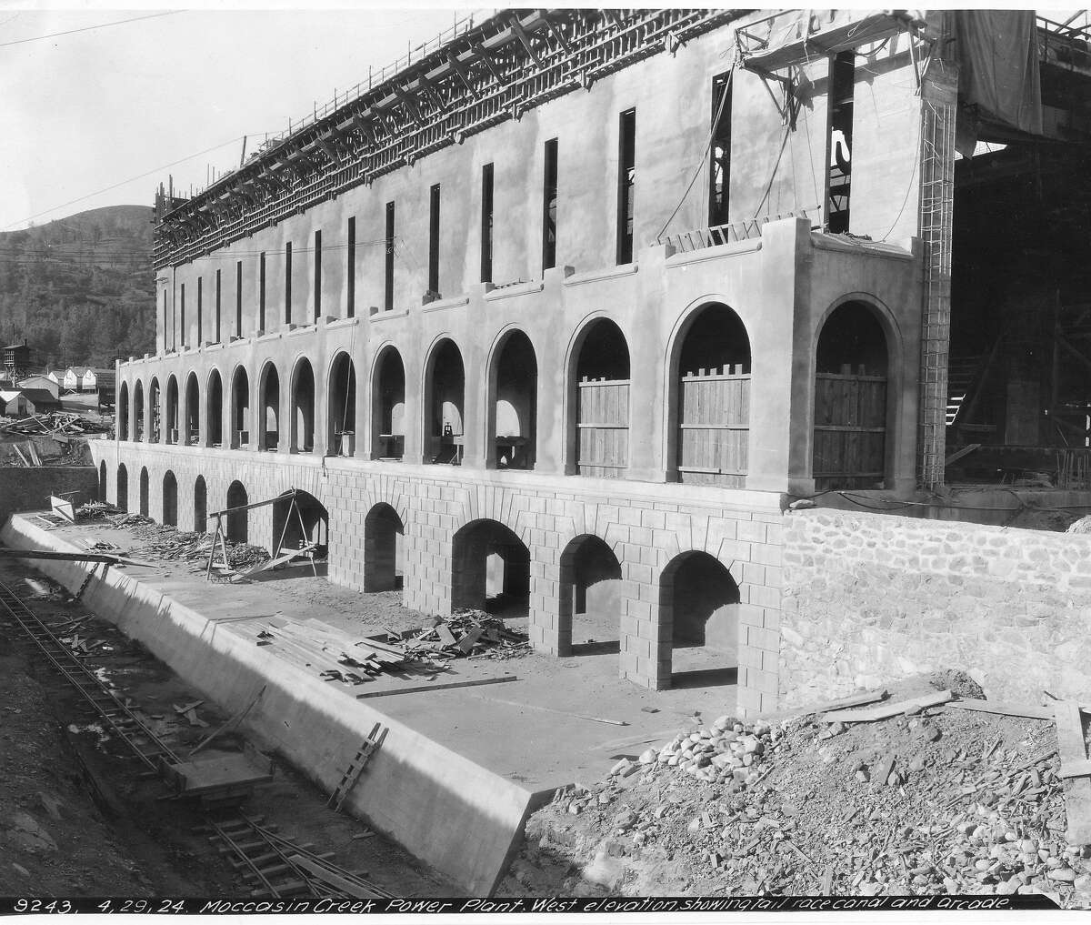 A stop on the Hetch Hetchy system, closeup of the exterior of the Moccasin Power Plan under construction, April 28, 1924 Handout photo courtesy of Hetch Hetchy Water Service