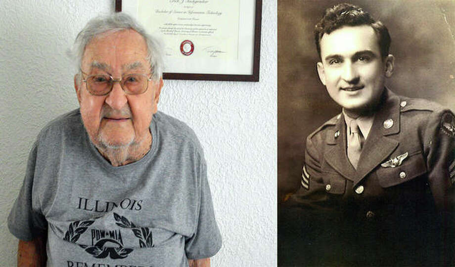 Bob Teichgraeber, of Collinsville, left, who turns 100 today, spent 421 days as a prisoner of war during World War II. Teichgraeber is shown on the right in his American uniform before being sent overseas. Photo: For The Intelligencer