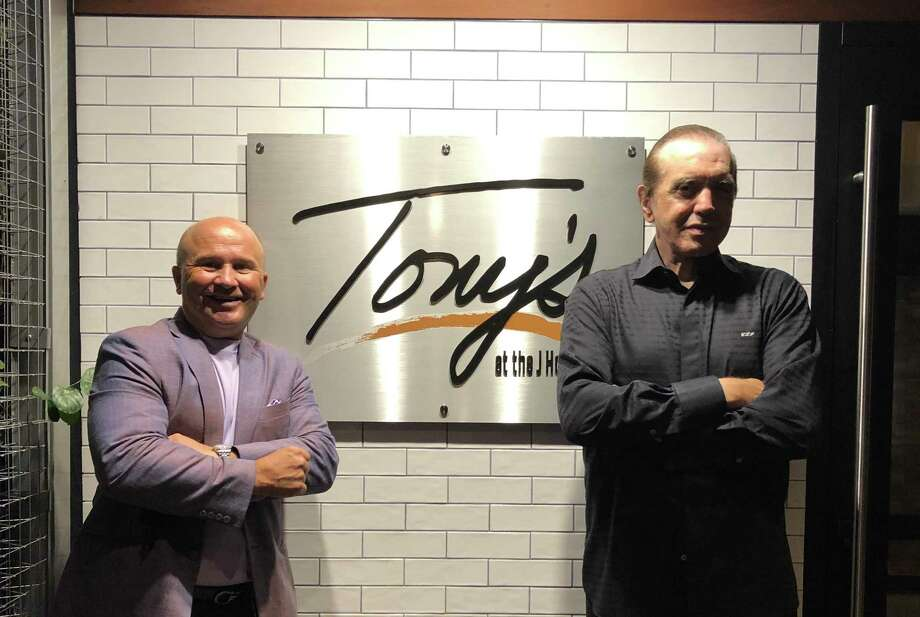 Tony Capasso, owner of Tony's at the JHouse in Riverside poses with actor/producer Chazz Palminteri on Aug. 15. Photo: Contributed / Tony Capasso /