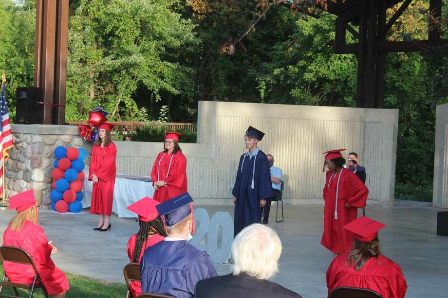 The Big Rapids Virtual School Class of 2020 walked across the stage Friday, and received their diplomas. The graduation took place at the bandshell at Hemlock Park. Photo: (Pioneer Photos/Catherine Sweeney)