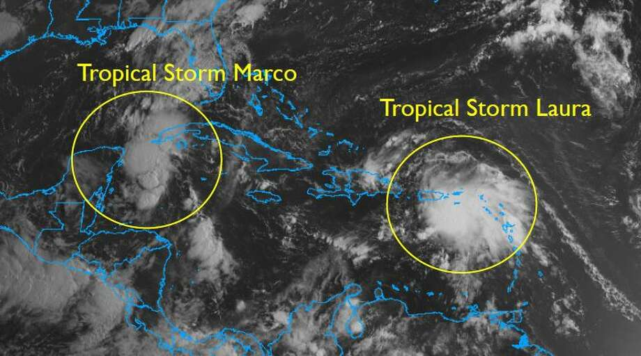 Tropical Storms Marco and Laura are continuing to move west toward the Gulf Mexico and could threaten Texas next week. Photo: National Weather Service