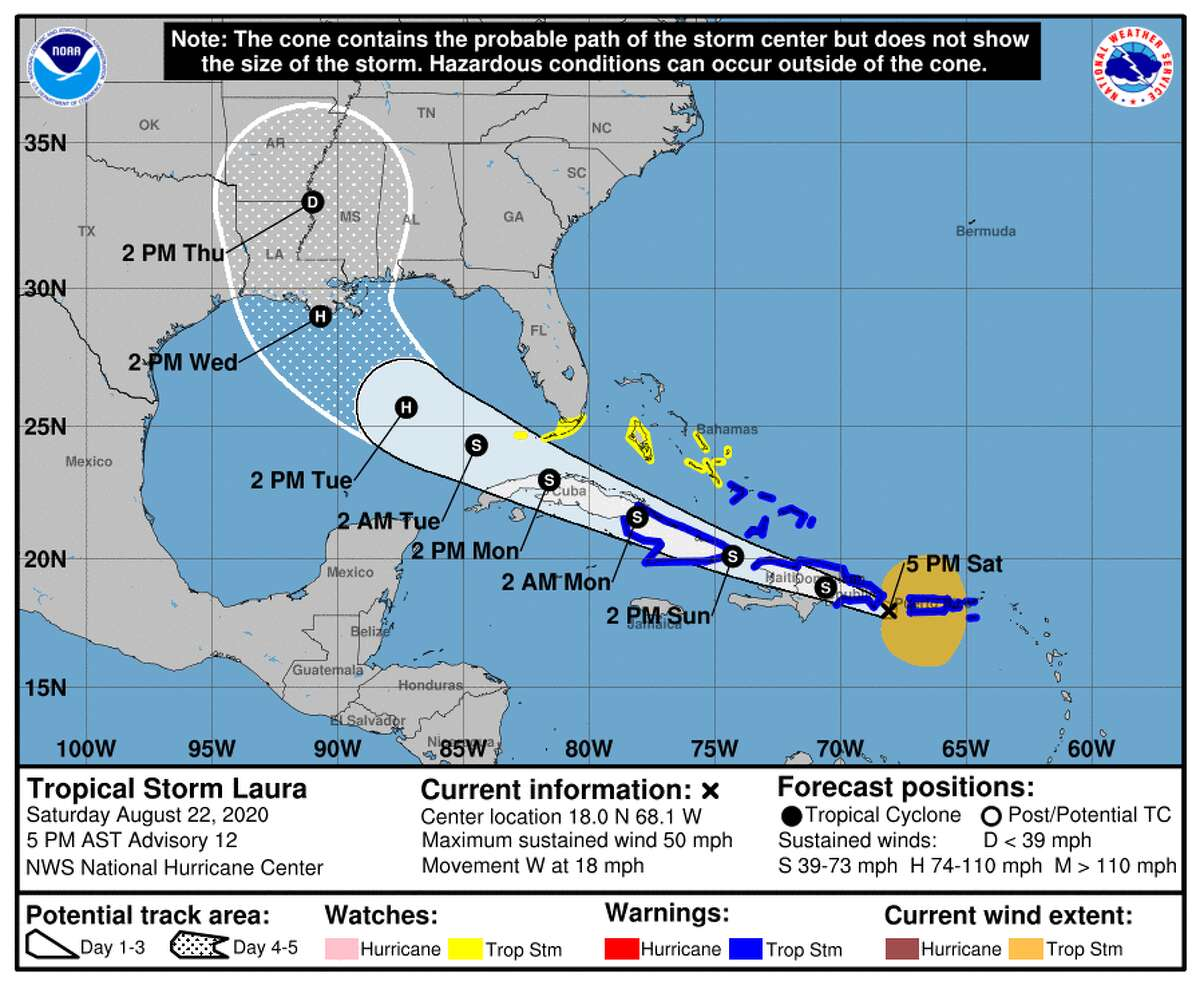 A projection of Tropical Storm Laura's path released at 4 p.m. from the National Weather Service in Lake Charles on Aug. 22.