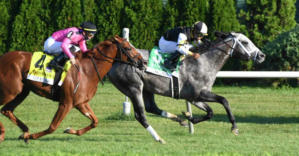 Halladay #6 with jockey Luis Saez in the saddle goes wire to wire to win the 36th running of The Fourstardave Saturday Aug.22, 2020 at the Saratoga Race Course in Saratoga Springs, N.Y. Photo by Skip Dickstein/Special to the Times Union