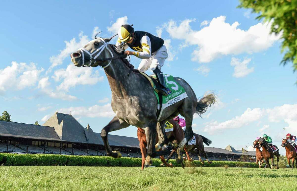 Halladay #6 with jockey Luis Saez in the saddle goes wire to wire to win the 36th running of The Fourstardave Saturday Aug.22, 2020 at the Saratoga Race Course in Saratoga Springs, N.Y. Photo by Skip Dickstein/Time Lanahan Special to the Times Union
