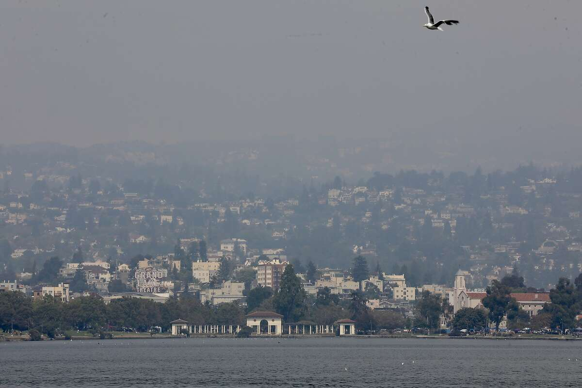 A hazy smokey sky persists at Lake Merritt from Bay Area wildfires in Oakland, Calif., on Saturday, August 22, 2020. The US National Weather Service San Francisco Bay Area/Monterey Californiahas issued a Fire Weather Watch for the North Bay which includes all of Santa Rosa. The Watch will be in effect from this 11am Sunday (8/23) to 11am Tuesday morning (8/25).