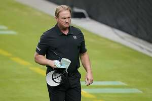 Las Vegas Raiders head coach Jon Gruden during an NFL football training camp practice Friday, Aug. 21, 2020, in Las Vegas. (AP Photo/John Locher)