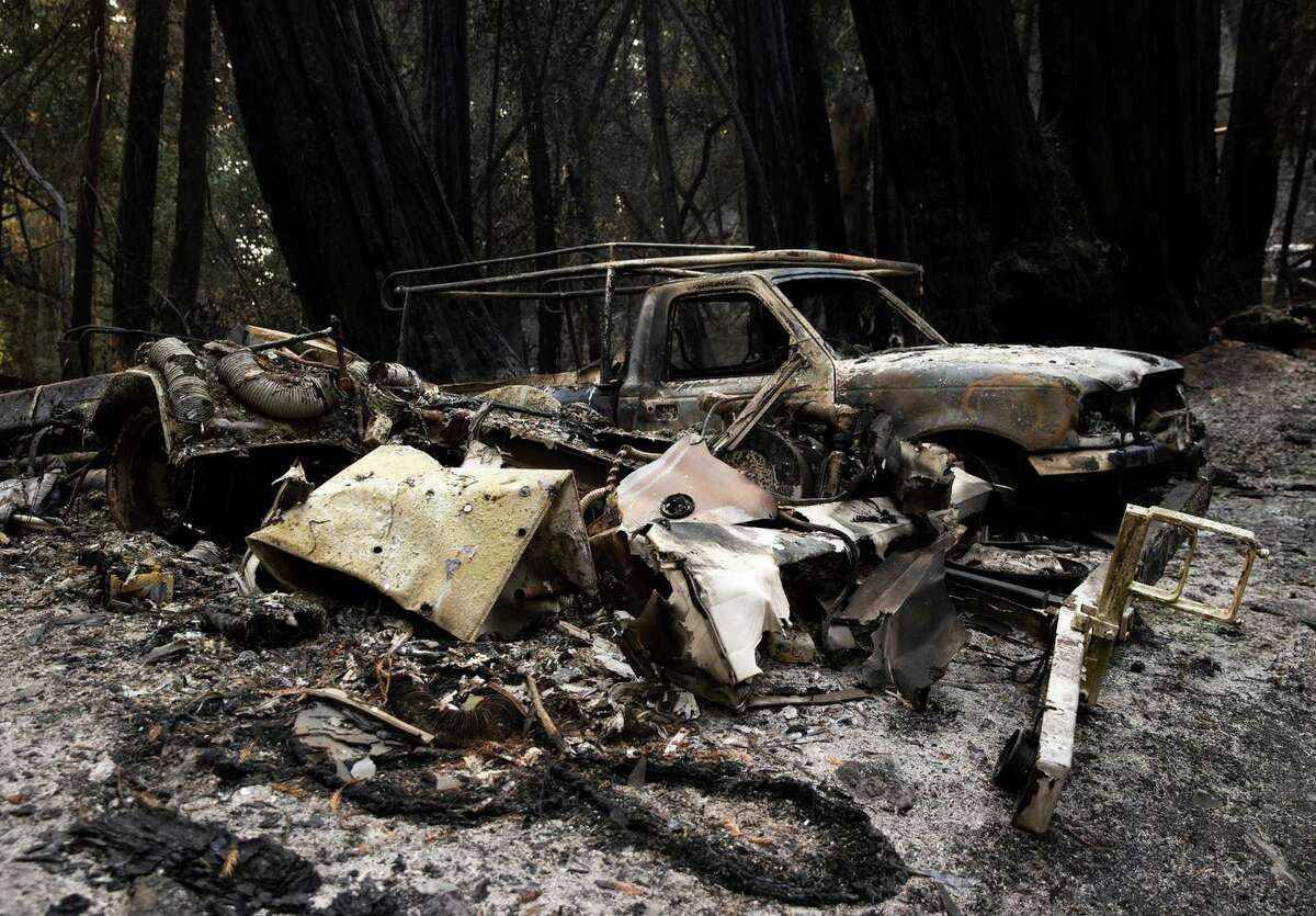 Equipment was burned by the Walbridge Fire on Wallace Creek Road in Healdsburg. Efforts to clear dead vegetation could help reduce fires, but that could take many years or even decades.