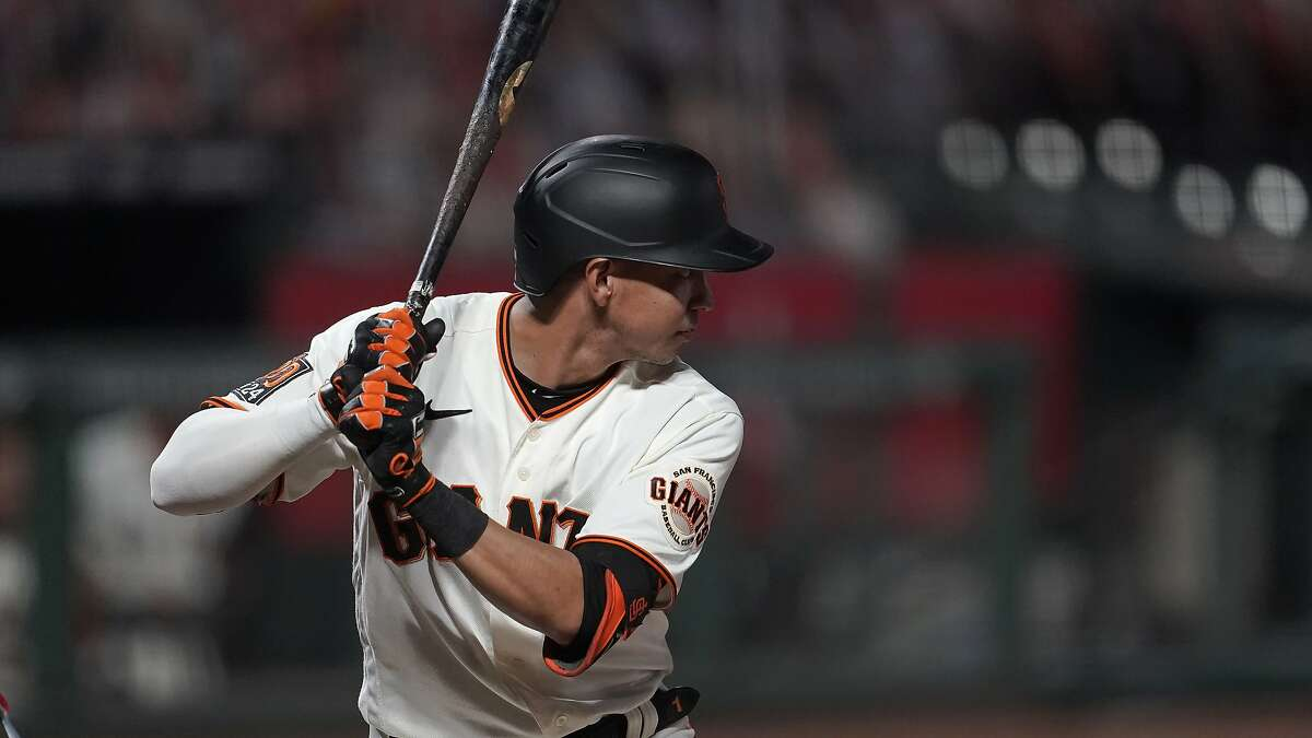 San Francisco Giants' Mauricio Dubon against the Los Angeles Angels during a baseball game in San Francisco, Wednesday, Aug. 19, 2020. (AP Photo/Jeff Chiu)