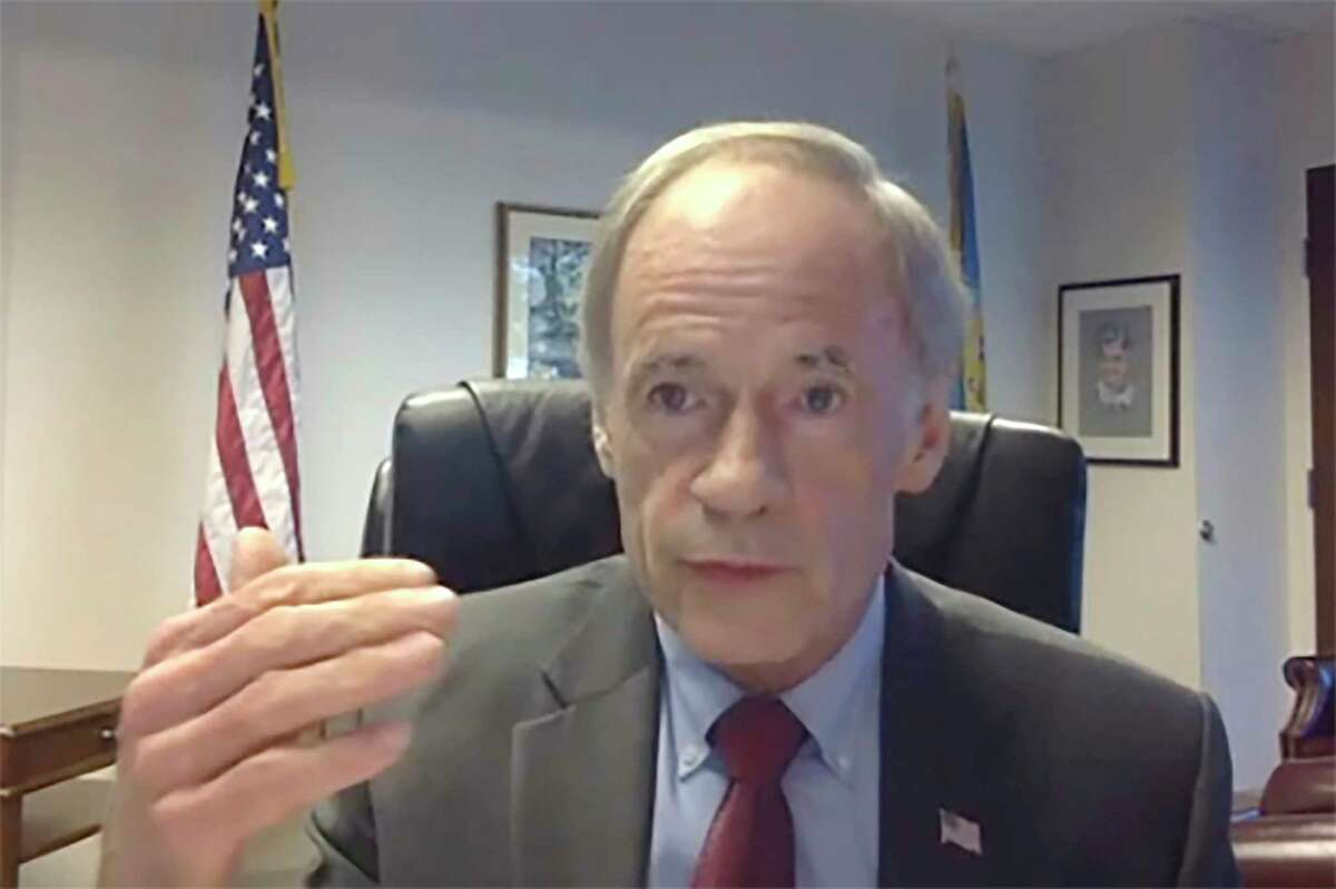 In this image from video, Sen. Tom Carper, D-Del, speaks during a virtual video hearing before the Senate Governmental Affairs Committee on the U.S. Postal Service during COVID-19 and the upcoming elections, Friday, Aug. 21, 2020 on Capitol Hill in Washington. (U.S. Senate Committee on Homeland Security & Governmental Affairs via AP)
