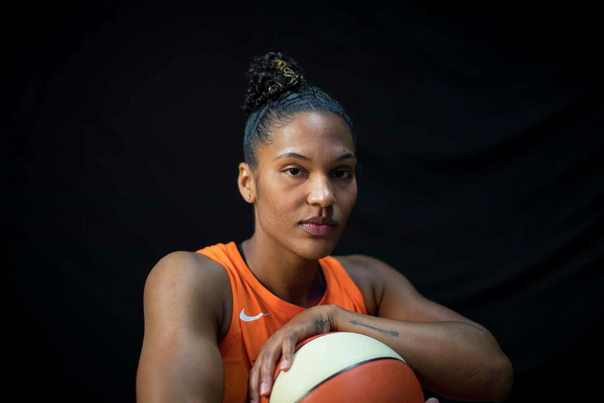 UNCASVILLE, CONNECTICUT- May 2: A portrait of basketball player Alyssa Thomas #25 of the Connecticut Sun at Mohegan Sun Arena on May 2, 2018 in Uncasville, Connecticut. (Photo by Tim Clayton/Corbis via Getty Images)