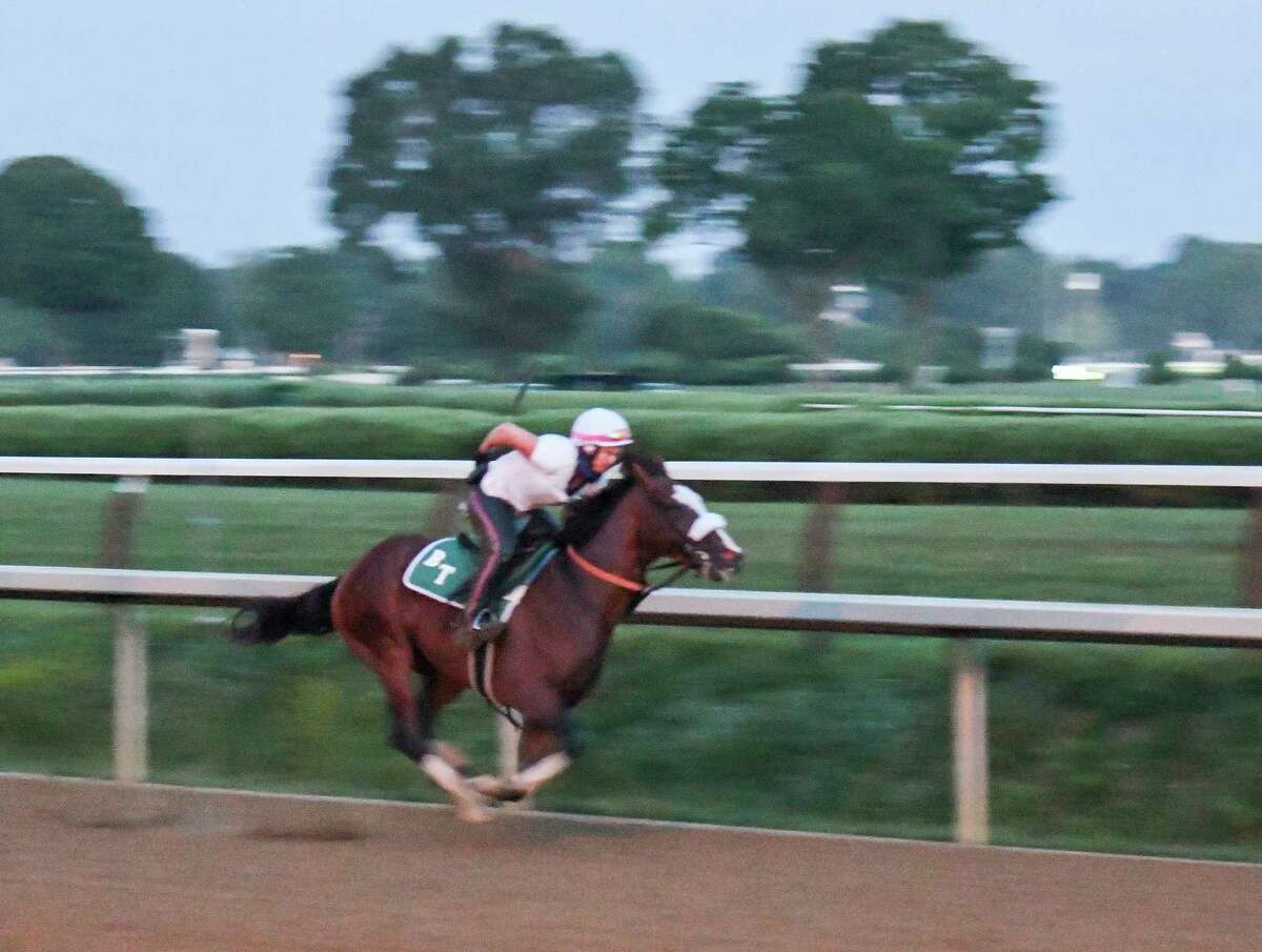 In the predawn hours where only the illumination from street lamps bathed the track Tiz the Law with exercise rider Heather Smullen aboard had one of his final preparatory works before the Kentucky Derby Sunday Aug.23, 2020 at the Saratoga Race Course in Saratoga Springs.Tiz the Law has not had a timed workout since finishing second in the Kentucky Derby. (Skip Dickstein/Special to the Times Union)