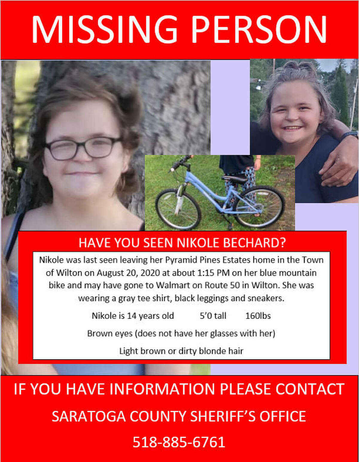The Saratoga County Sheriff's Office put out this information about Nikole Bechard, 14, who was last seen in Wilton Aug. 20, 2020.