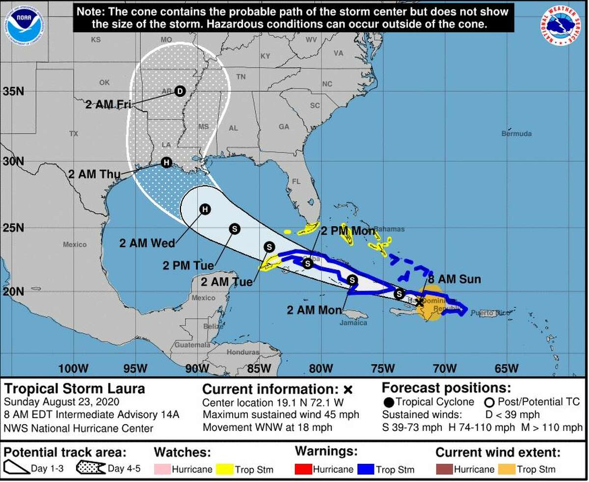 A projection of Tropical Storm Laura's path released at 8 a.m. from the National Weather Service in Lake Charles on Aug. 23.