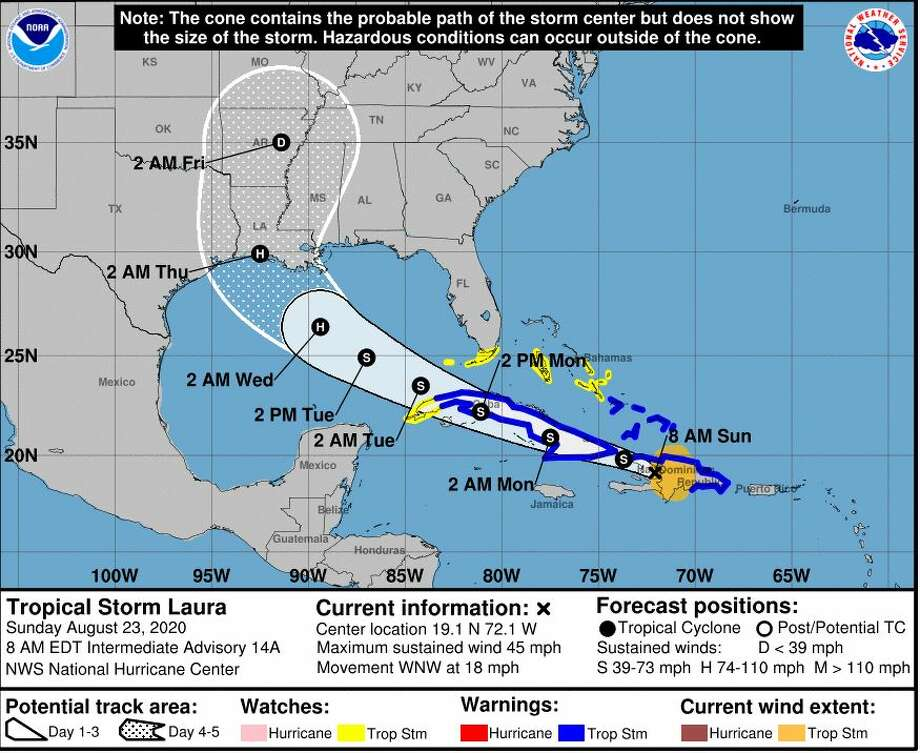 A projection of Tropical Storm Laura's path released at 8 a.m. from the National Weather Service in Lake Charles on Aug. 23. Photo: National Weather Service
