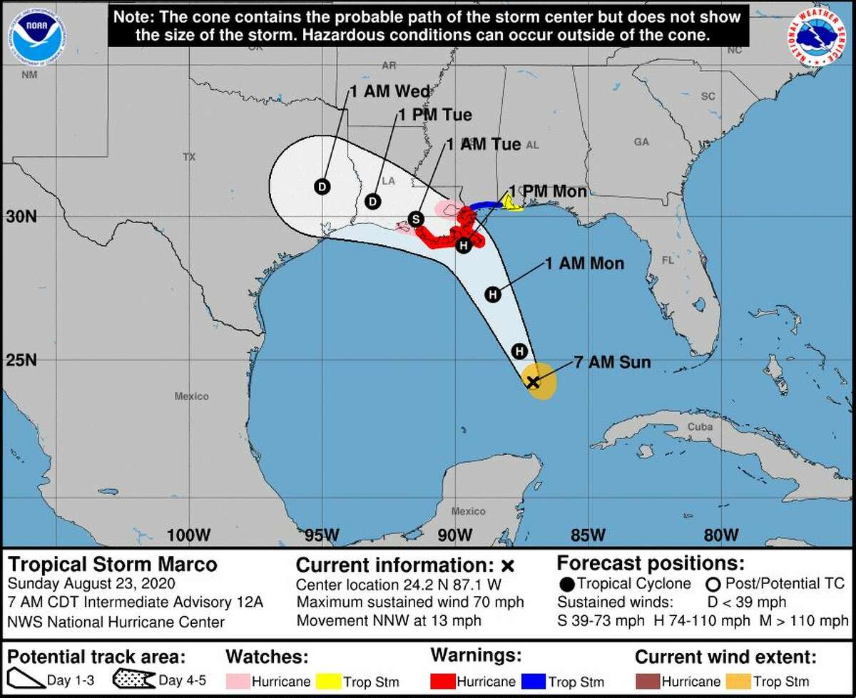 A projection of Tropical Storm Marco's path released at 8 a.m. from the National Weather Service in Lake Charles on Aug. 23.