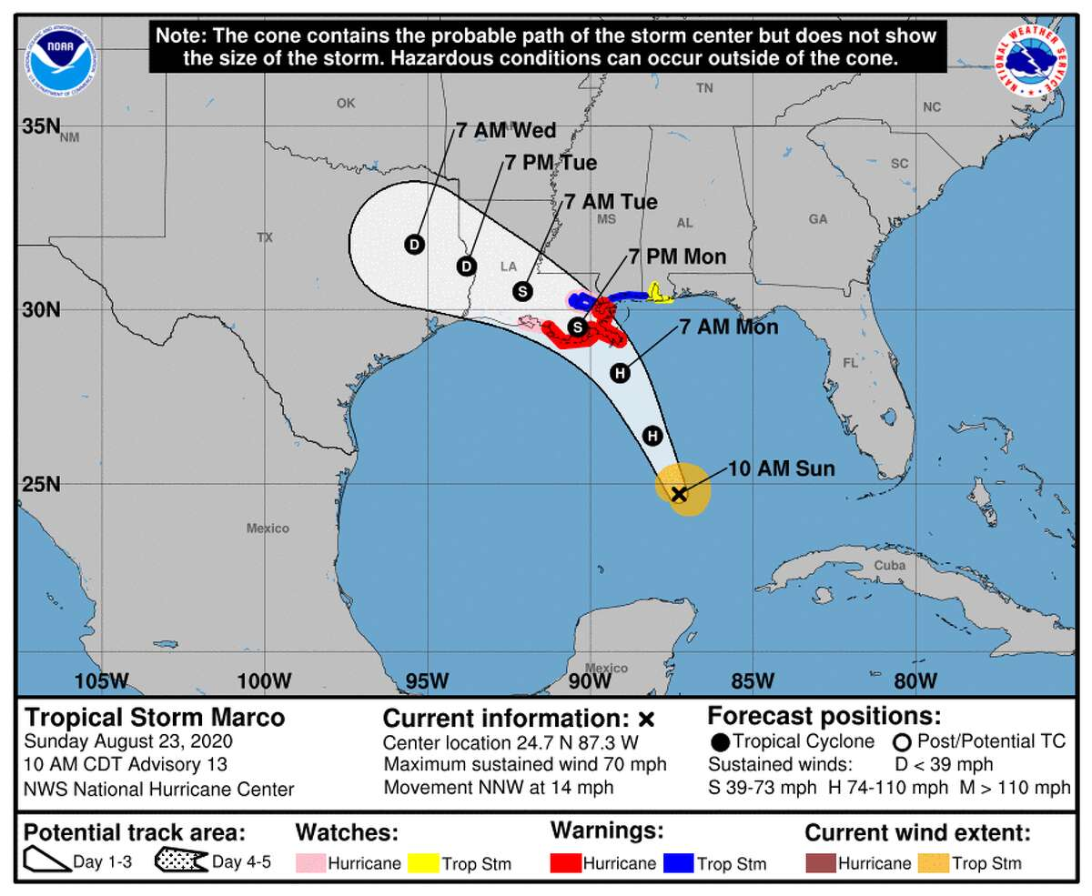 The forecast cone for Marco on Sunday, Aug. 23, 2020.