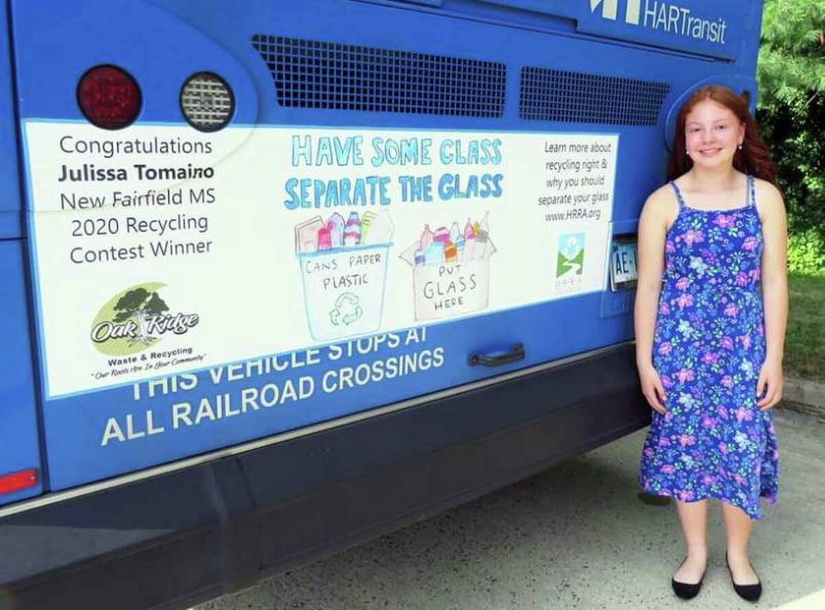 Julissa Tomaino, an 8th grader from New Fairfield Middle School, was the grand prize winner of the 2020 HRRA-Housatonic Resources Recovery Authority Billboard Poster Contest.
