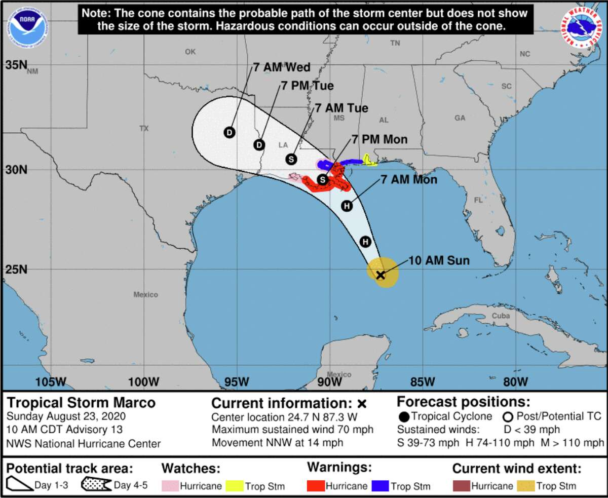 Marco is now a tropical storm while Tropical Storm Laura is forecasted to become a category 2 hurricane as it moves closer to land. This is the projected path for Marco.