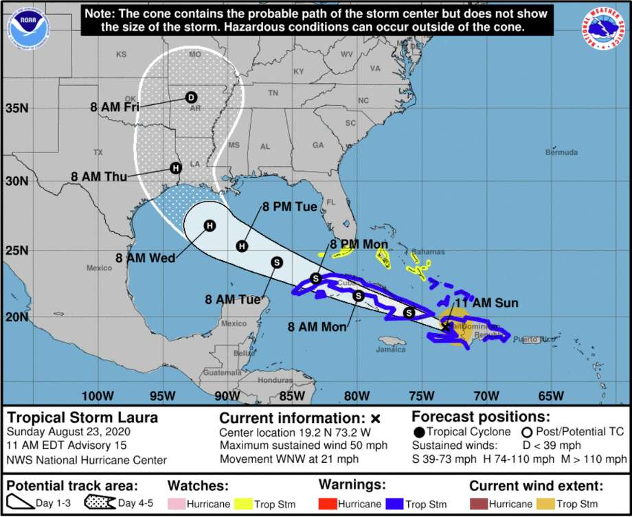 Marco is now a tropical storm while Tropical Storm Laura is forecasted to become a category 2 hurricane as it moves closer to land. This the projected path for Laura. Photo: Courtesy National Hurricane Center