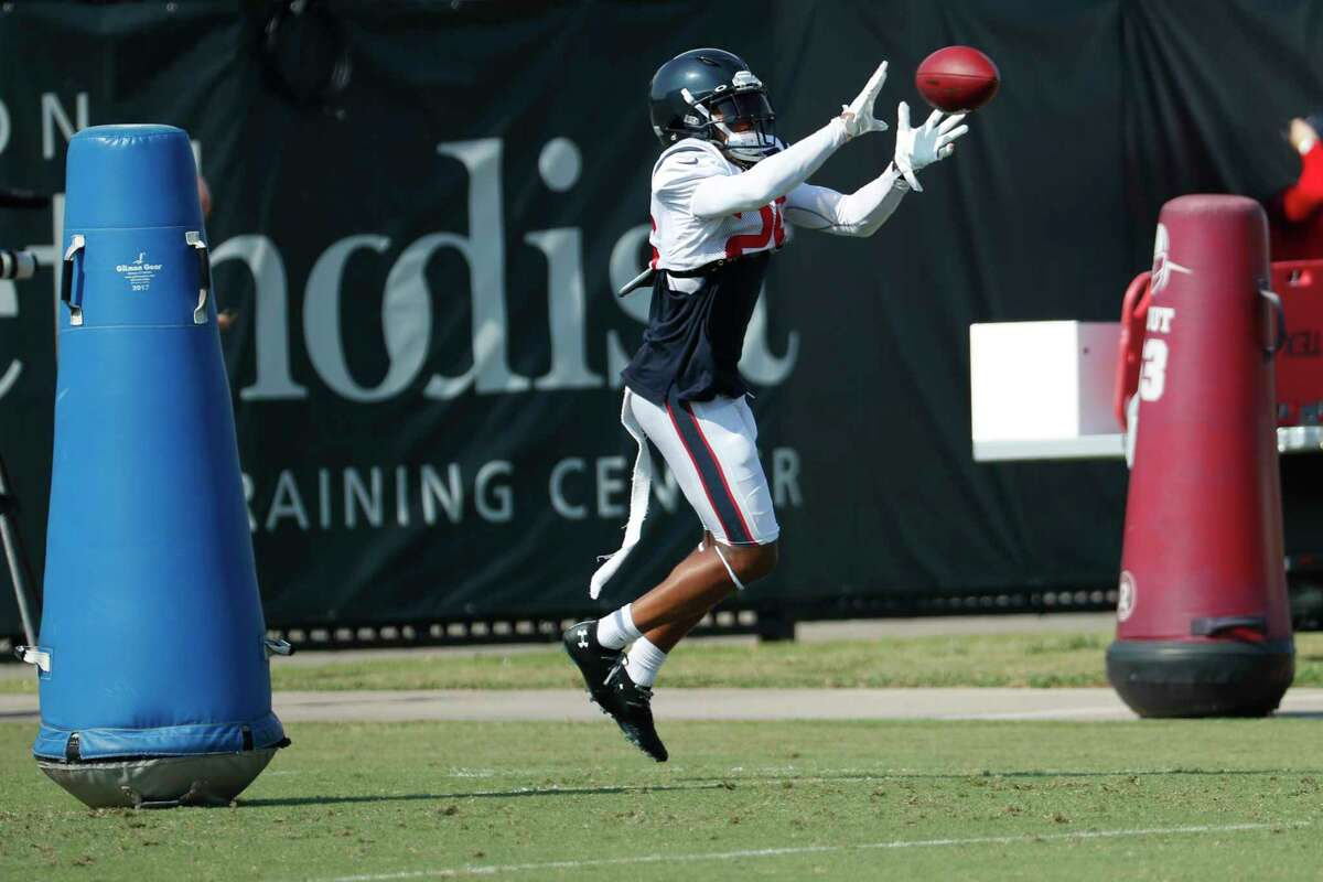 Houston Texans cornerback Vernon Hargreaves III goes up for a ball during an NFL training camp football practice Sunday, Aug. 23, 2020, in Houston.