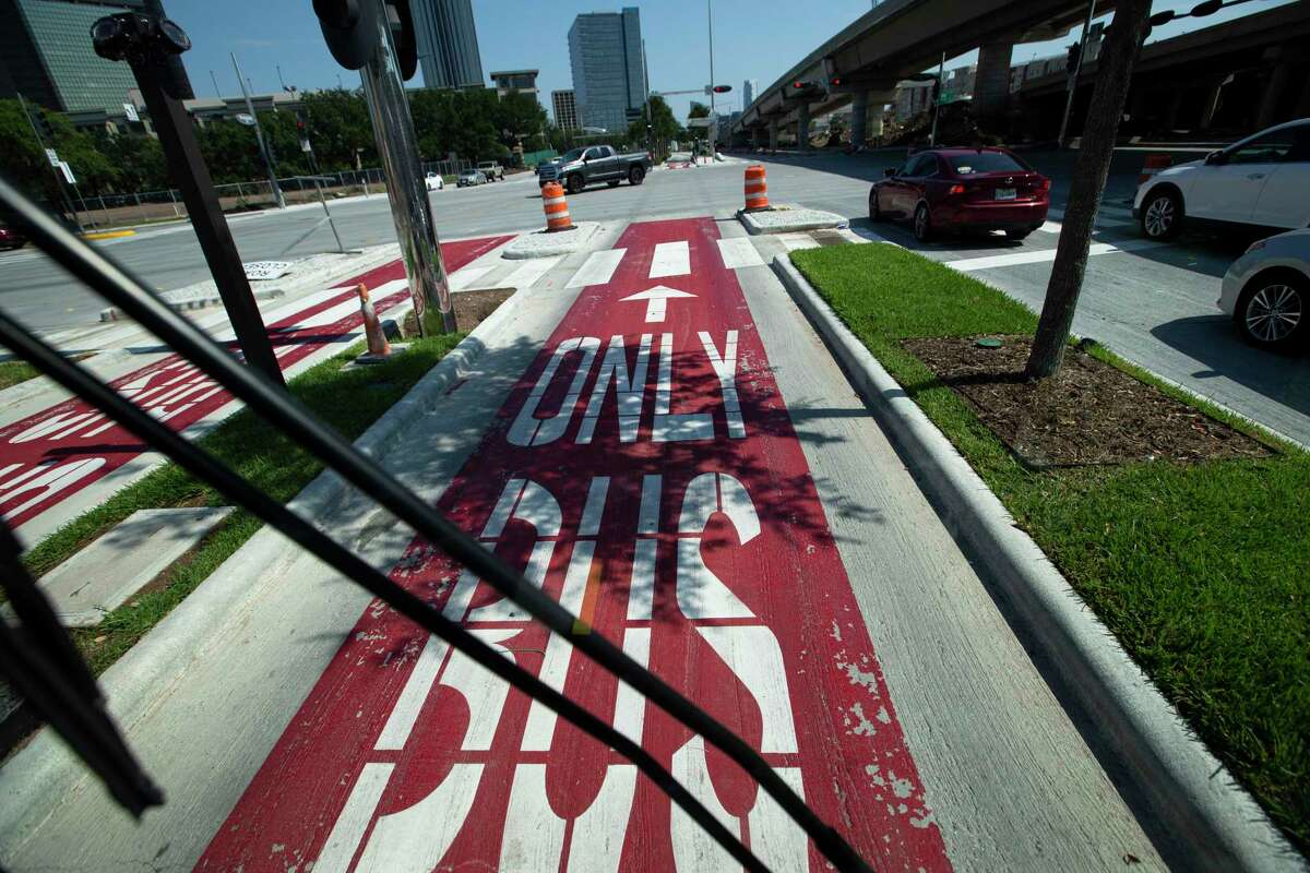 The Silver Line bus rapid transit on Post Oak Boulevard starts service Sunday, Aug. 23, 2020, at in Houston. The line is Houston's first foray into bus rapid transit, with vehicles using mostly dedicated lanes to ferry riders from the new Lower Uptown Westpark Transit Center south of Interstate 69 along Post Oak and eventually to the Northwest Transit Center at Loop 610 and Interstate 10, with eight stops in between.