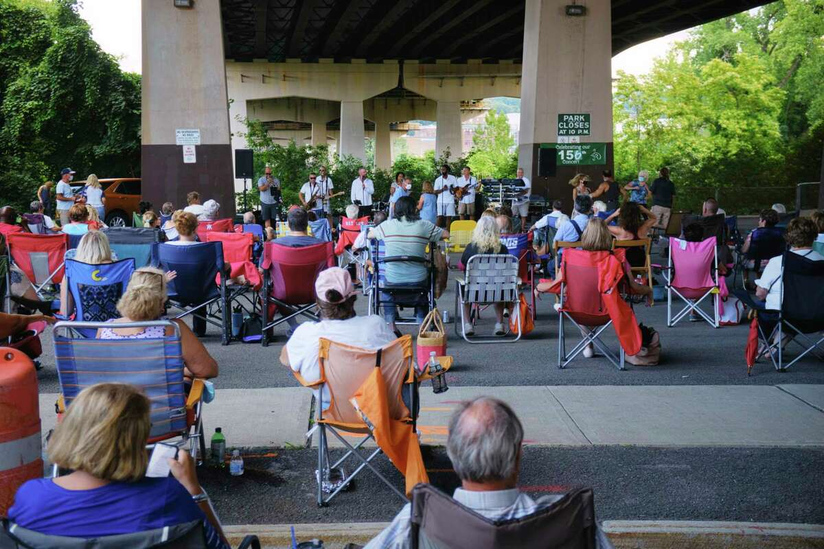 The band The Accents performs under the Collar City Bridge as part of the Gig 20 concert series on Sunday, Aug. 23, 2020, in Green Island, N.Y. The concert was moved under the bridge due to the heat and the chance of thunderstorms. (Paul Buckowski/Times Union)