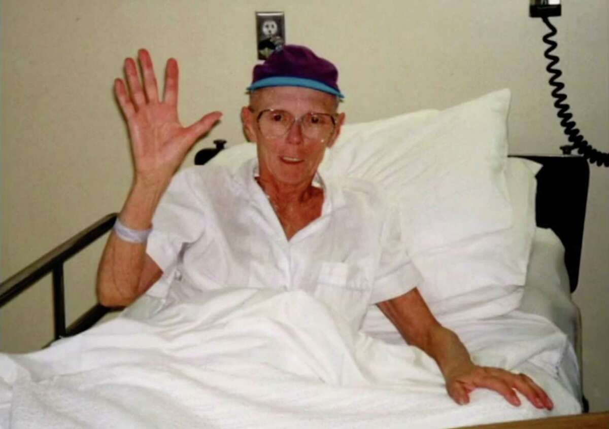Pat Peterson of Albany in the hospital recovering from treatment for lymphoma in the early 1990s. At age 67 Peterson received a stem cell transplant and was considered the oldest person at the time to be approved for the grueling treatment. (Provided)
