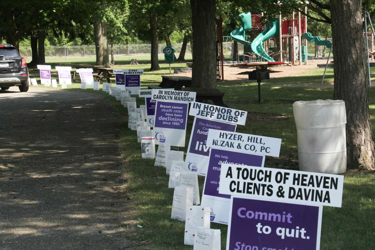The 2020 Huron County Relay for Event was held Sunday in Bad Axe City Park as a drive-thru event. The annual fundraiser and memorial was originally scheduled for June but was postponed due to the coronavirus pandemic. Tribute signs and luminarias purchased by sponsors will also be used in next year's event.