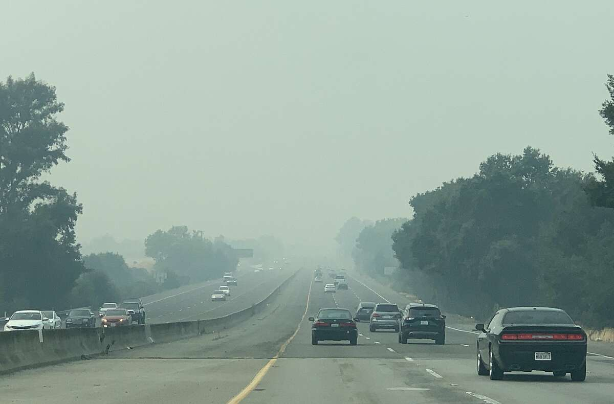 Smoke from the SCU Lighting Complex Fire settles in the Tri-Valley, making air quality conditions hazardous for all seen here along Highway 680 near Bernal Avenue in Pleasanton, Calif. Sunday, August 23, 2020.