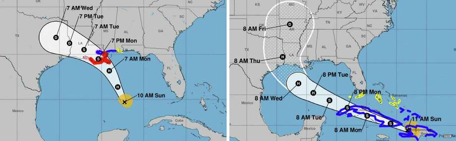 In an undated image provided by NOAA, two tropical storms continue to pose a threat in the Caribbean as they approach the Gulf Coast, with Louisiana potentially in the path of both of them. The governor has declared a state of emergency and some areas of Louisiana have issued mandatory evacuations ahead of Tropical Storms Laura and Marco. (NOAA via The New York Times) -- FOR EDITORIAL USE ONLY. -- Photo: NOAA, HO / NYT / NOAA