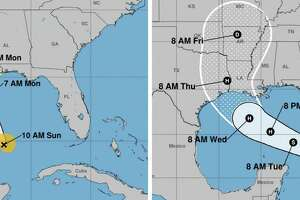 In an undated image provided by NOAA, two tropical storms continue to pose a threat in the Caribbean as they approach the Gulf Coast, with Louisiana potentially in the path of both of them. The governor has declared a state of emergency and some areas of Louisiana have issued mandatory evacuations ahead of Tropical Storms Laura and Marco. (NOAA via The New York Times) -- FOR EDITORIAL USE ONLY. --