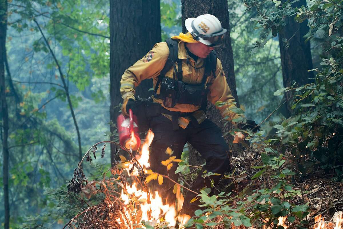 Cal Fire Battalion Chief Matt Wallen uses a drip torch to back burn around a home to help stop the spread of the CZU Lightning Complex Fire along Highway 9 near Boulder Creek, Calif. on Aug., 23, 2020.