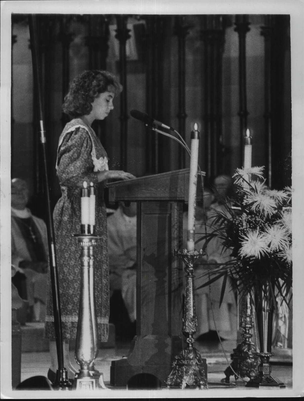 Cathedral of the Immaculate Conception, Albany, new York - Trish Maginn, grand-niece of Bishop Maginn, gives the First Reading in the Liturgy of the Word. August 24, 1984 (Paul D. Kniskern, Sr./Times Union Archive)