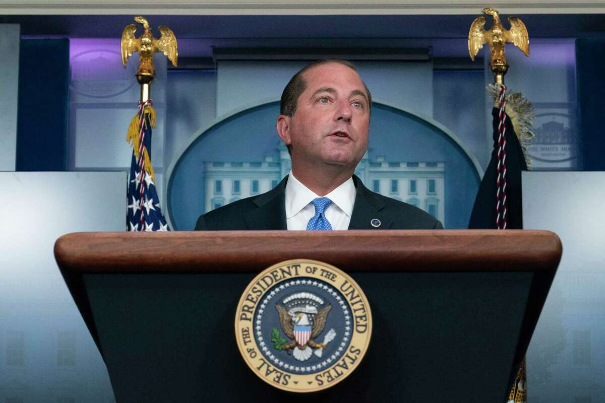 Health and Human Services Secretary Alex Azar speaks during a media briefing in the James Brady Briefing Room of the White House, Sunday, Aug. 23, 2020, in Washington.(AP Photo/Alex Brandon)