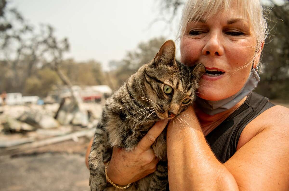 Resident Katie Giannuzzi reacts with joy as she finds her cat Gus in a drain amidst the burned remains of her home during the LNU Lightning Complex fire in Vacaville, California on August 23, 2020. - Firefighters battled some of California's largest-ever fires that have forced tens of thousands from their homes and burned one million acres, with further lightning strikes and gusty winds forecast in the days ahead. (Photo by JOSH EDELSON / AFP) (Photo by JOSH EDELSON/AFP via Getty Images)