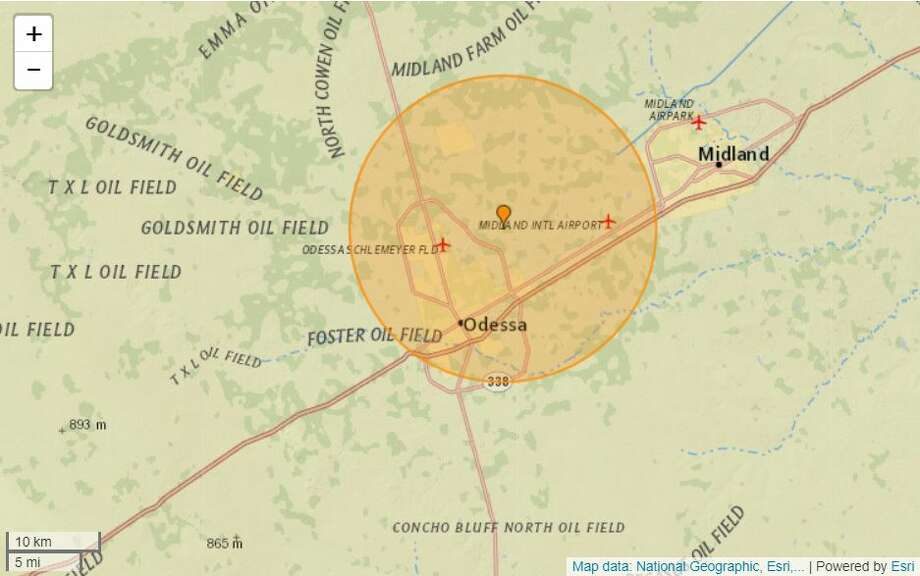 A 2.4-magnitude earthquake took place Sunday evening, around 6 miles north-northeast of Odessa, according to earthquaketrack.com. Photo: Earthquaketrack.com