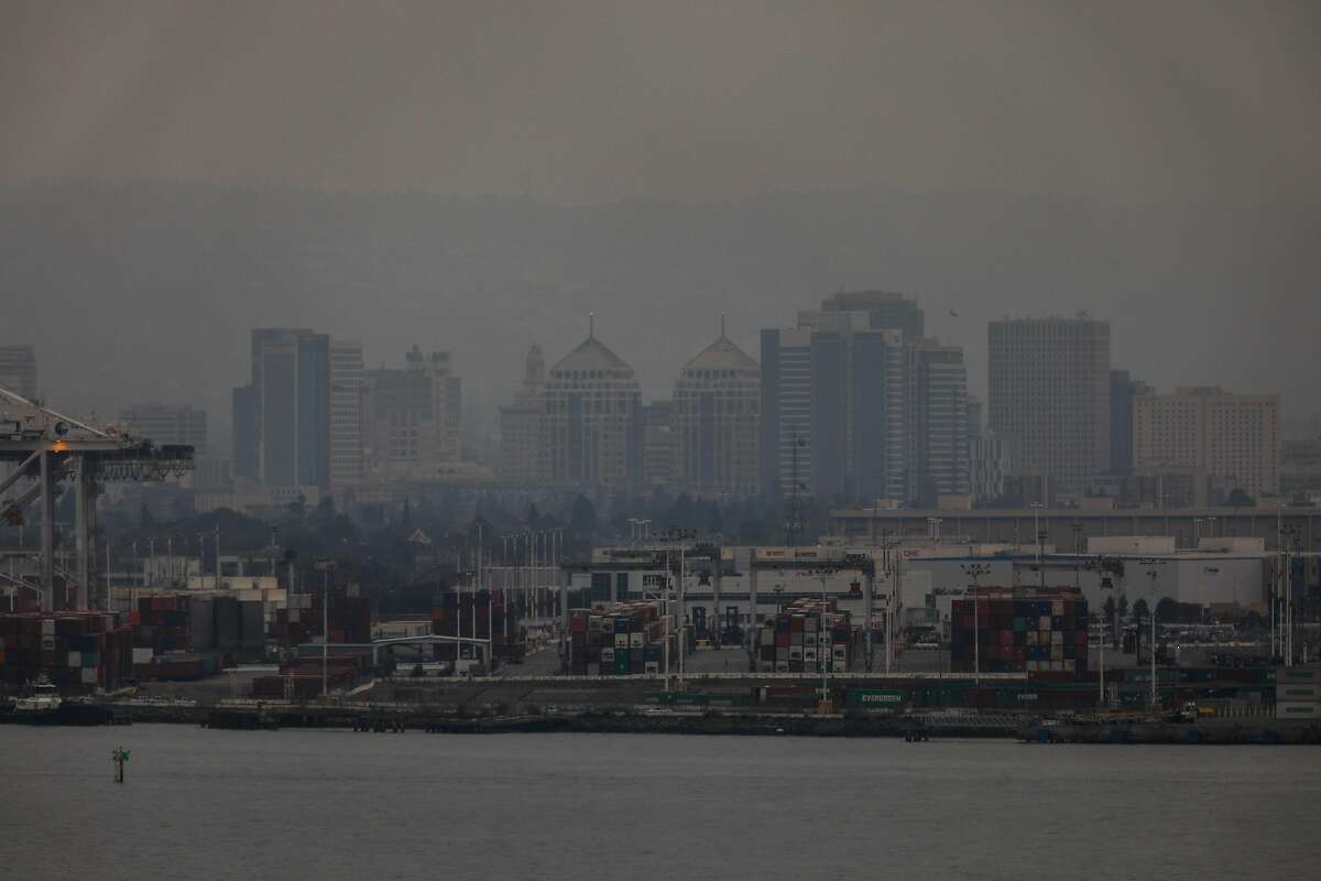 Haze and smoke surround the East Bay on Sunday, Aug. 23, 2020 in San Francisco, California. The fires in Northern California have made the air quality bad in the Bay Area.