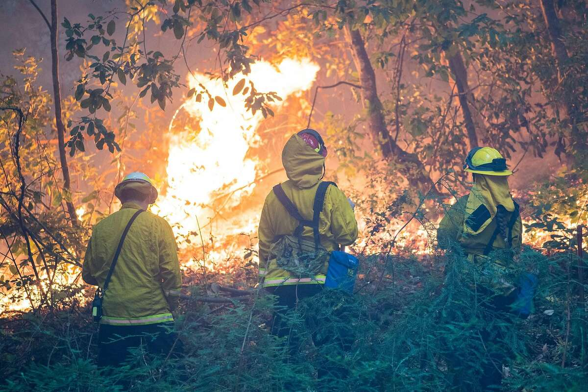 Firefighters from the Boulder Creek Fire Protection District monitor the CZU Lightning Complex Fire near Boulder Creek, Calif. on Aug., 23, 2020.