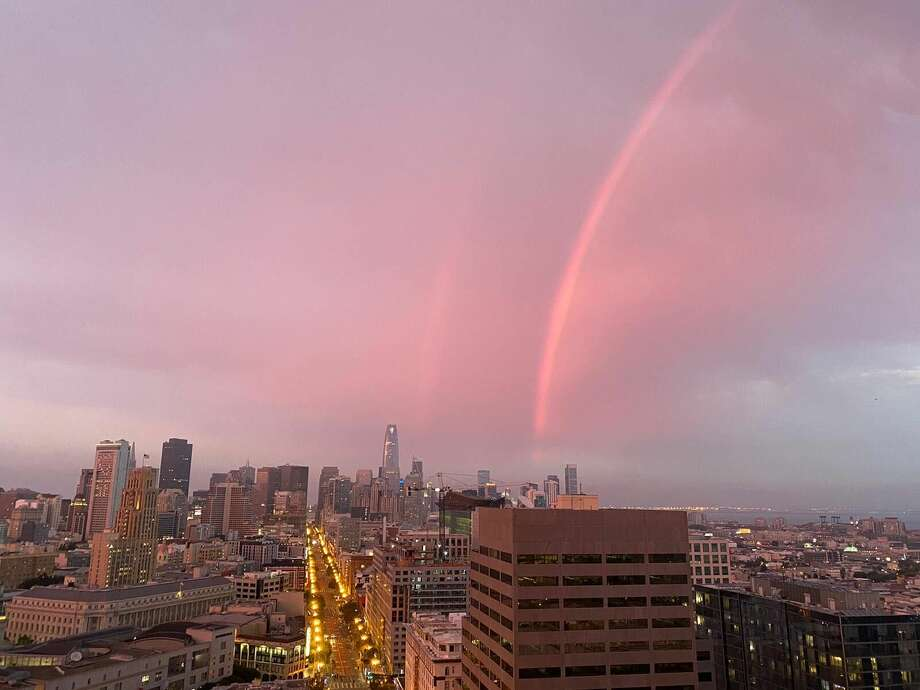 A rainbow during sunset in San Francisco on Sunday, Aug. 23, 2020, as wildfires raged across California. Photo: Andy Dufrense