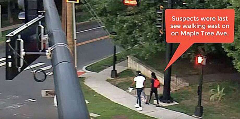 Stamford police have released a video of two suspects in a shooting incident on Cedar Street shortly after 7 p.m. on Friday, Aug. 21, 2020. Photo: Stamford Police Photo From Video Screen Grab