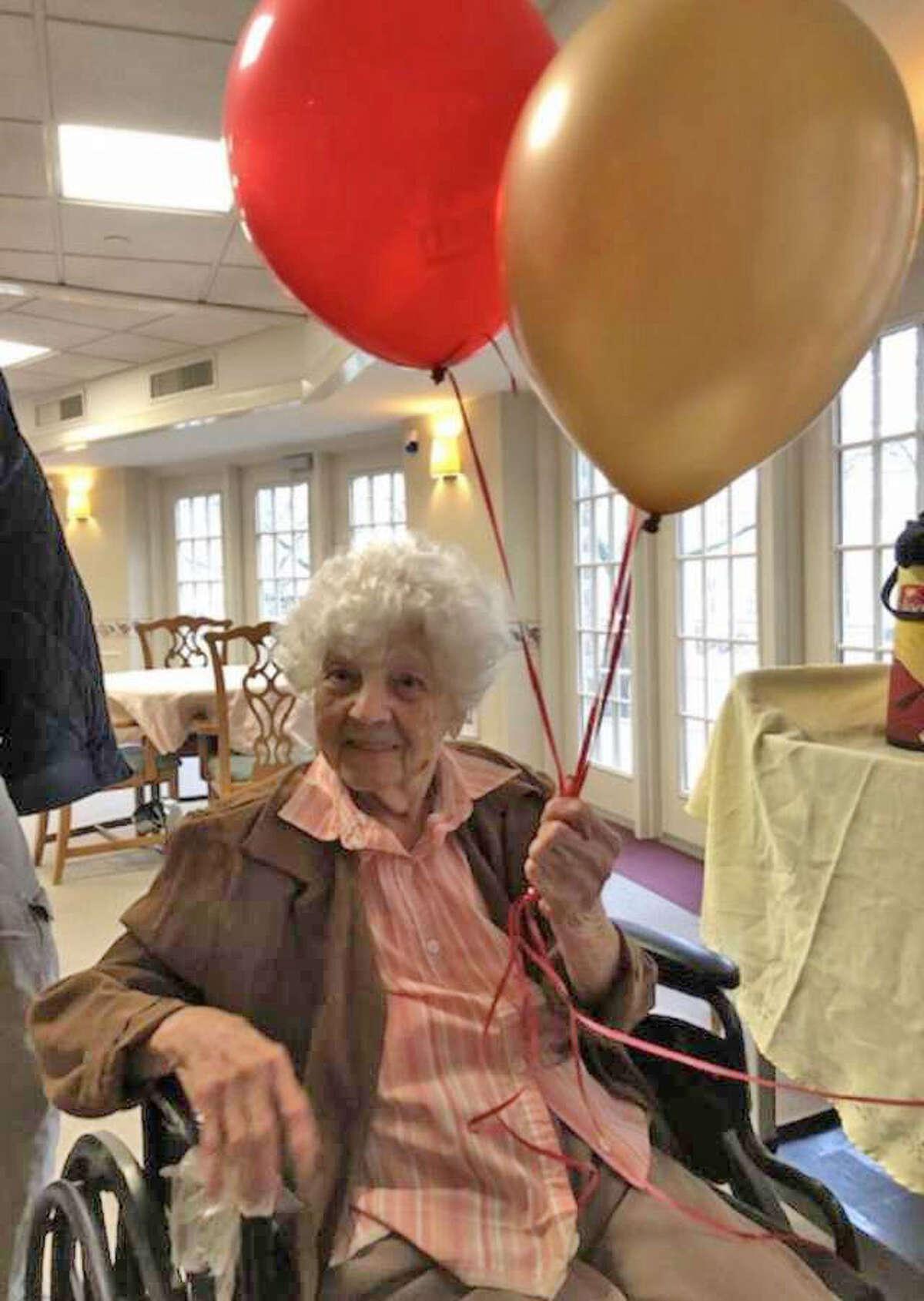 Anita Murphy, 108, at Whitney Rehab on her birthday in February.