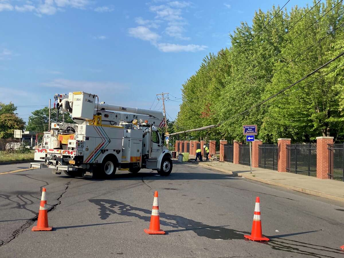 Albany police suggested drivers avoid Northern Boulevard near Livingston Avenue Monday while National Grid crews repair this downed utility pole.