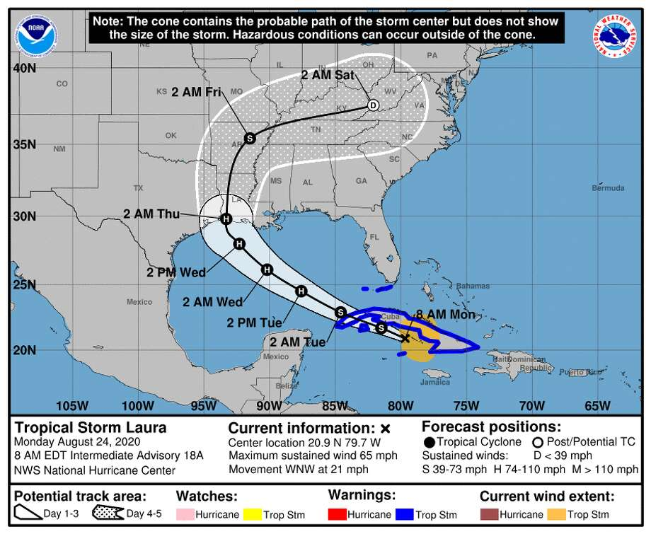 The latest track forecast for Tropical Storm Laura as of Monday, Aug. 24, 2020. Photo: National Hurricane Center