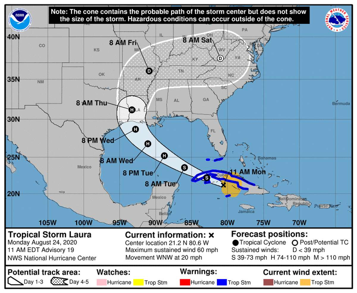 The latest track forecast for Tropical Storm Laura as of Monday, Aug. 24, 2020.